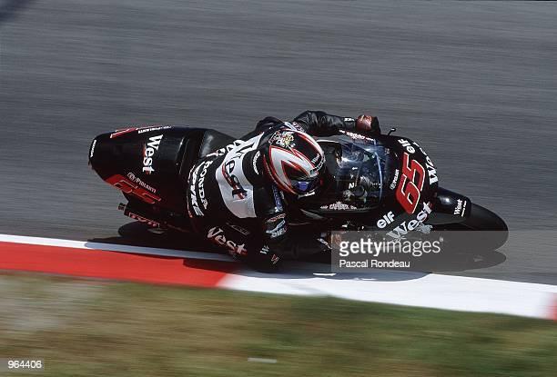 Loris Capirossi of Italy in action on his West Honda during the 500cc Motorcycle Grand Prix at Circuit De Catalunya in Barcelona Spain Mandatory...