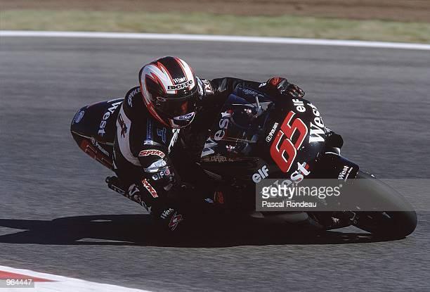 Loris Capirossi of Italy puts his West Honda through its paces during the 500cc Motorcycle Grand Prix at Circuit De Catalunya in Barcelona Spain...