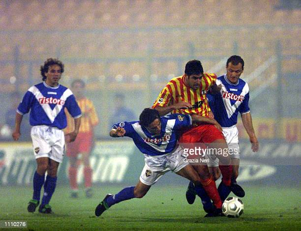 Lucarelli of Lecce and Antonio Filippini of Brescia in action during the Serie A 29th Round League match between Lecce and Brescia played at the Via...
