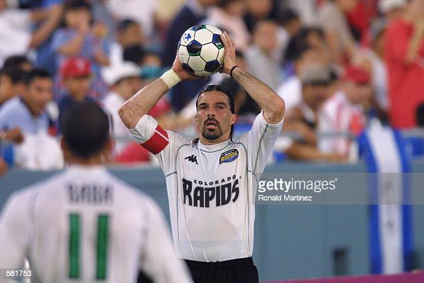 Marcelo Balboa of the Colorado Rapids puts the ball in play against the Dallas Burn at the Cotton Bowl in Dallas, Texas. The Rapids won 1 - 0 over...