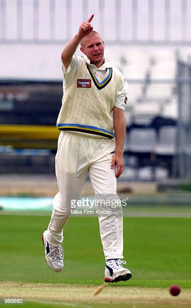 Matthew Hoggard of Yorkshire celebrates after cleanbowling Russell Warren of Northamptonshire for one in the CricInfo County Championship match at...
