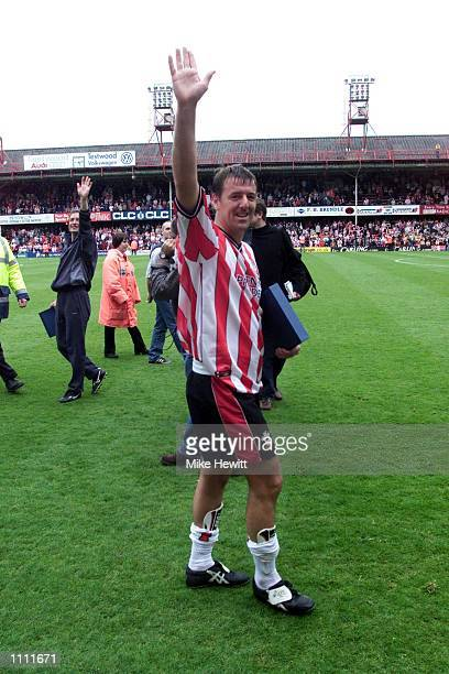 Matthew Le Tissier of Southampton acknowledges the Southampton fans at the end of the last ever League game at The Dell after the FA Carling...
