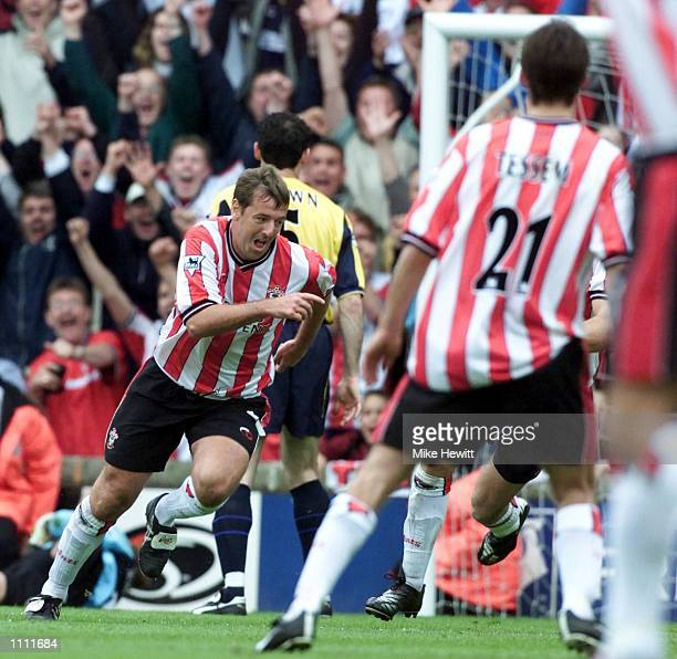 Matthew Le Tissier of Southampton celebrates after scoring the winning goal against Arsenal during the last ever League game at The Dell between the...