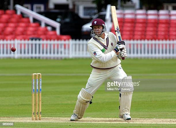 Michael Burns of Somerset hits out on his way to 50 during the CricInfo County Championship match between Leicestershire and Somerset at Grace Road...