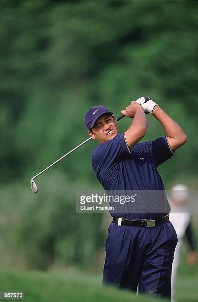Michael Campbell of New Zealand plays a fairway shot during the 2001 Deutsche Bank SAP Open at St Leon Rot in Heidelberg Germany Mandatory Credit...