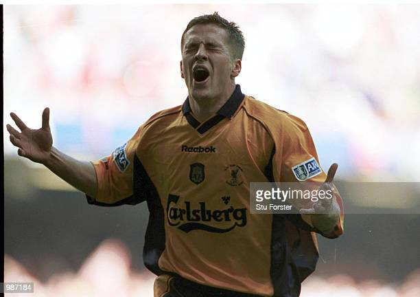 Michael Owen celebrates after scoring the second goal for Liverpool during the AXA sponsored 2001 FA Cup Final between Arsenal v Liverpool at the...