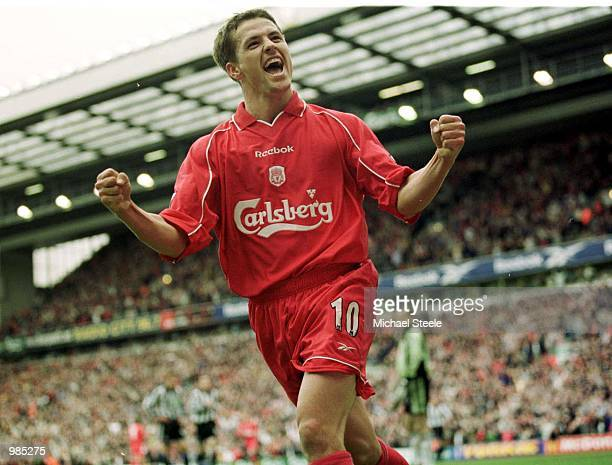 Michael Owen of Liverpool celebrates his third goal during the match between Liverpool and Newcastle United in the FA Carling Premiership at Anfield...