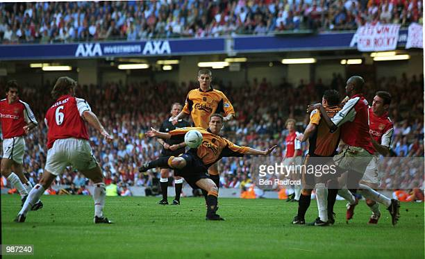 Michael Owen scoring the first goal for Liverpool during the AXA sponsored 2001 FA Cup Final between Arsenal v Liverpool at the Millennium Stadium...