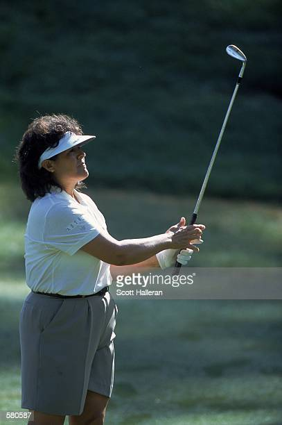 Nancy Lopez watches her ball during the Chick Fil A LPGA Championship at the Eagles Landing Country Club in Stockbridge, Georgia.Mandatory Credit:...