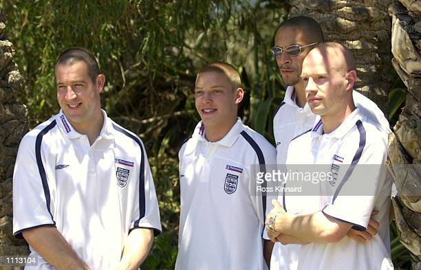 30 May 2001 Nigel Martyn Alan Smith Rio Ferdinand and Danny Mills of Leeds and England after their press conference at the La Manga traing camp in...