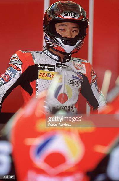 Norick Abe of Japan in the garage on his Antena 3 Yamaha during the 500cc Motorcycle Grand Prix at Circuit De Catalunya in Barcelona Spain Mandatory...