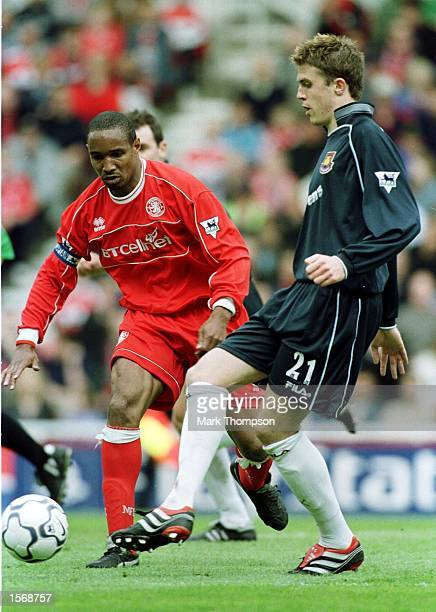 Paul Ince of Middlesbrough battles with Michael Carrick of West Ham during the Middlesbrough v West Ham United FA Carling Premiership match at the...