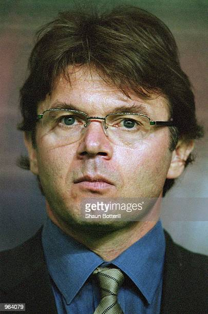 Portrait of Japan Coach Philippe Troussier as he watches the action during the FIFA Confederations Cup match between Japan and Canada at the Niigata...