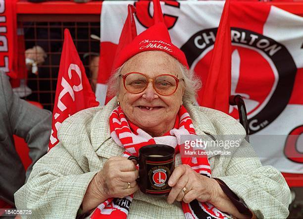 19 May 2001 Premiership Football Charlton Athletic v Liverpool An elderly lady clearly showing her support for Charlton Athletic