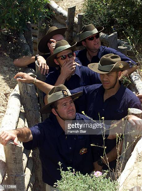 Ricky Ponting of Australia in the trenches with his team mates at The Nek during the Australian team's visit to Gallipoli on their way to England for...
