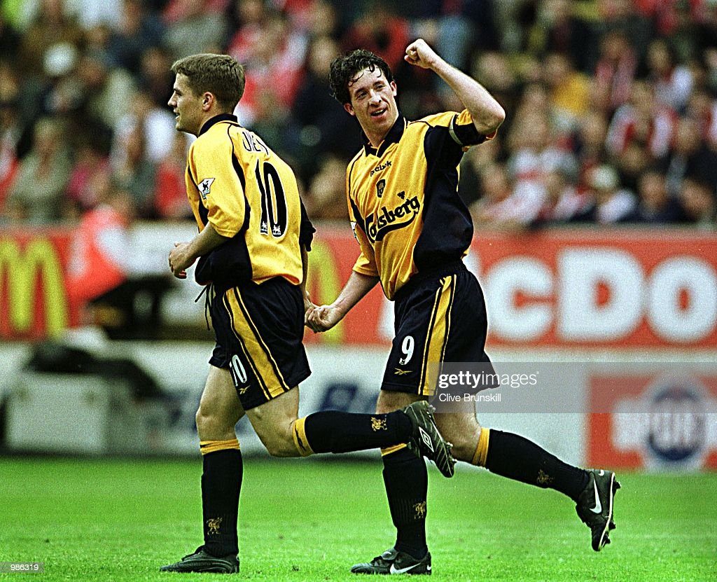 Robbie Fowler of Liverpool celebrates scoring during the FA Carling Premiership match between CHarlton Athletic and Liverpool played at The Valley, London. Mandatory Credit: Clive Brunskill/ALLSPORT