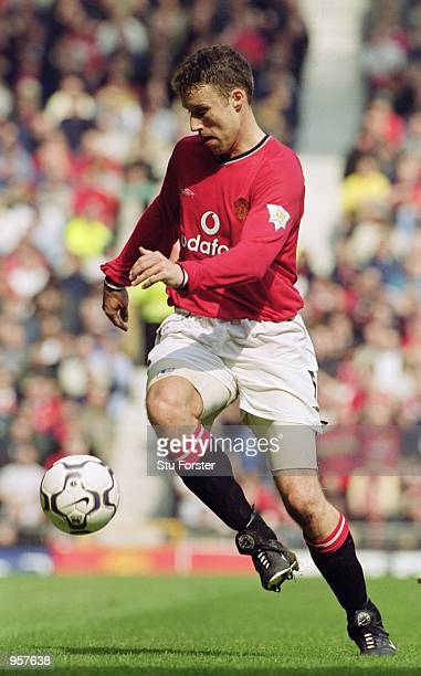 Ronny Johnsen of Manchester United controls the ball during the FA Carling Premiership match against Derby County played at Old Trafford in...