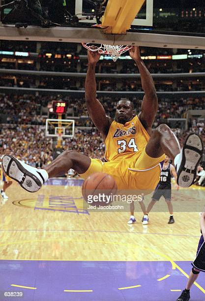 Shaquille O''Neal of the Los Angeles Lakers makes a slam dunk during round two of the NBA Western Conference Playoff Game against the Sacramento...
