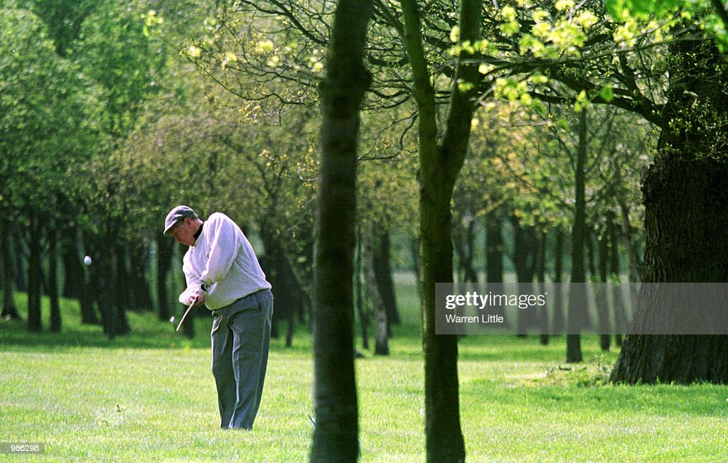 Sir Bobby Charlton plays from the light rough during the Pro-Am event before the Benson & Hedges International Open played at the Belfry, Birmingham, the venue for the next Ryder Cup. Mandatory Credit: Warren Little/ALLSPORT