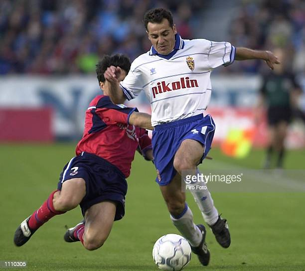 Soria of Numancia and Jamelli of Zaragoza in action during the Primera Liga match played between Zaragoza and Numancia at the La Romareda Stadium...