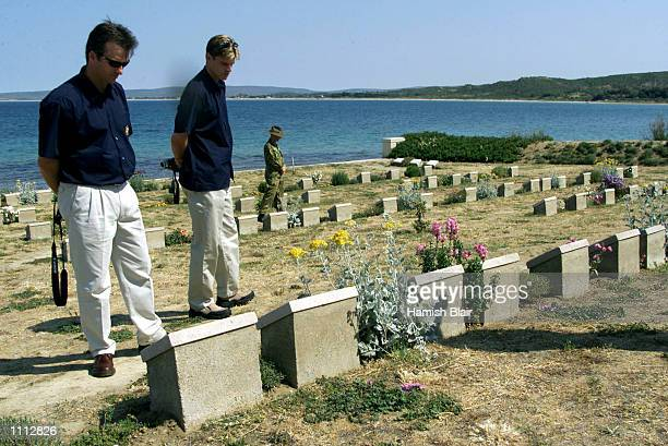 Steve Waugh and Nathan Bracken of Australia spend time in a cemetry on Anzac Cove during the Australian team's visit to Gallipoli on their way to...