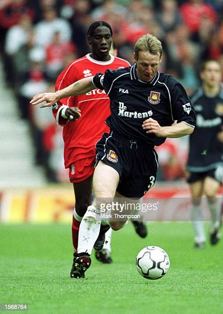 Stuart Pearce of West Ham gets away from Joseph Desire Job of Middlesbrough during the Middlesbrough v West Ham United FA Carling Premiership match...