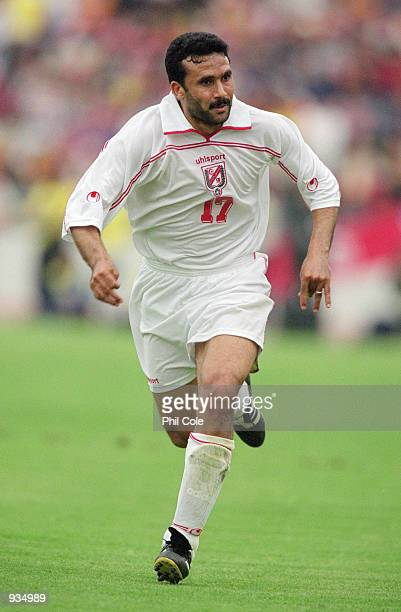 Tarek Thabet of Tunisia in action during the 2002 World Cup Qualifier against Ivory Coast played at the El Menzah Stadium in Tunis Tunisia The match...