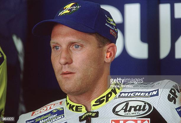 Telefonica Suzuki rider Kenny Roberts of USA in the pits before the start of the 500cc Motorcycle Grand Prix at Circuit De Catalunya in Barcelona...