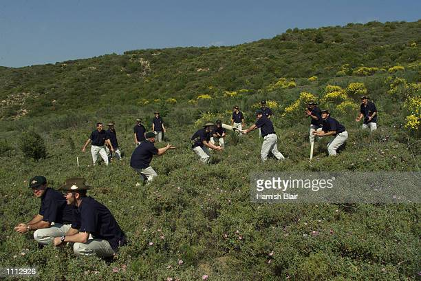 The Australian Team reenact a famous photograph at Shell Green during the Australian team's visit to Gallipoli on their way to England for the...
