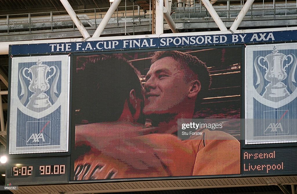 The Millennium Stadium scoreboard shows the joy on Michael Owen of Liverpool's face after the AXA sponsored FA Cup Final against Arsenal played at the Millennium Stadium, in Cardiff, Wales. Liverpool won the match and cup 2-1. \ Mandatory Credit: Stu Forster /Allsport