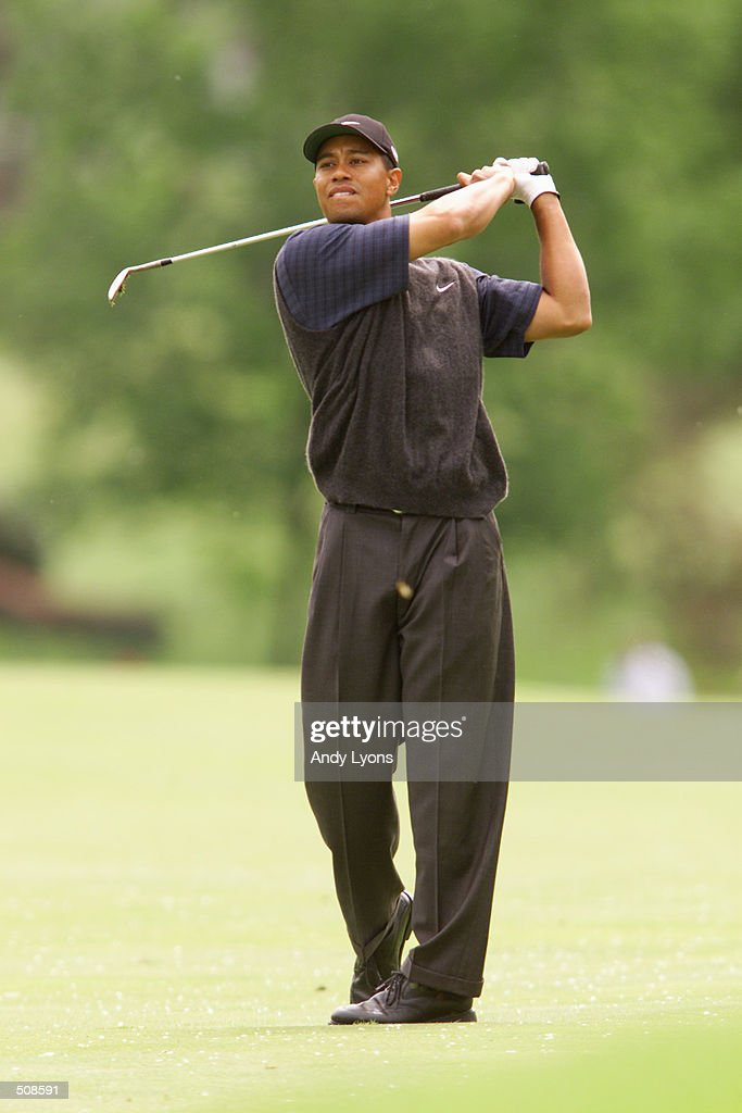 Tiger Woods hits a shot during the first round of the Memorial Tournament at Muirfield Village Golf Club in Dublin, Ohio. DIGITAL IMAGE Mandatory Credit: Andy Lyons/ALLSPORT
