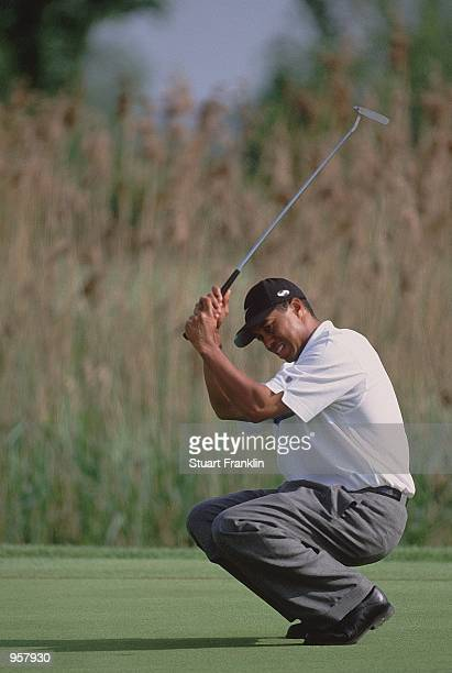 Tiger Woods of USA misses a putt during the 2001 Deutsche Bank SAP Open at St Leon Rot in Heidelberg Germany Mandatory Credit Stuart Franklin...