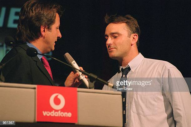 TV presenter Mark Nicholas chats to England player Graham Thorpe during the Vodafone Awards Dinner held at the Criterion Restaurant in London...