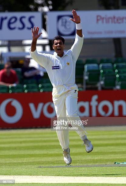 Waqar Younis captain of Pakistan dismisses Neil Burns of Leicestershire to take the first of a hat trick of wickets in the Vodafone Challenge Series...