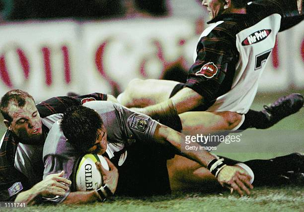 Warren Britz scores for the Sharks during the Super 12 Semi-final played between the Sharks and the Cats at the ABSA Stadium in Durban South Africa....