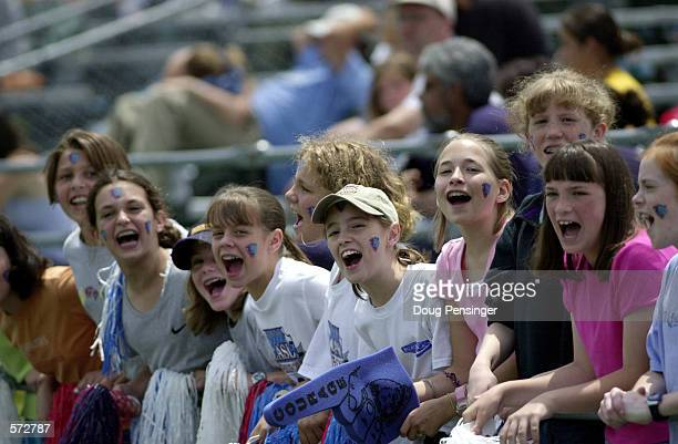 Young Carolina fans cheer on their team during the WUSA game between the carolina Courage and the San Diego Spirit at Fetzer Field in Chapel Hill...