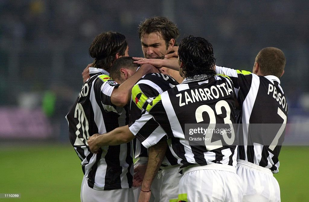 Zambrotta Pessotto And Tacchinardi Of Juventus Celebrate Zinedine