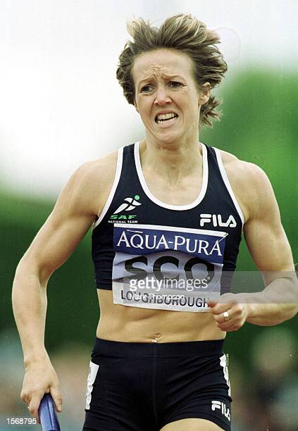 Allison Curbishley during the women 4x400m during the AquaPura International Athletics at Loughbrough University Loughbrough Mandatory Credit Mark...