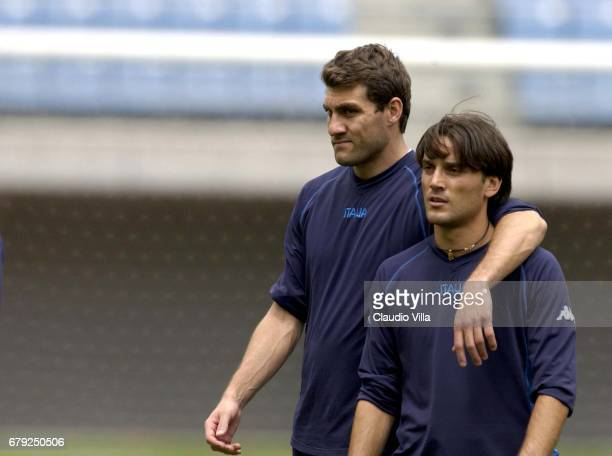 CHristian Vieri and Vincenzo Montella of Italy in action during Italy's training session to prepare 2002 World Cup in Sendai Japan