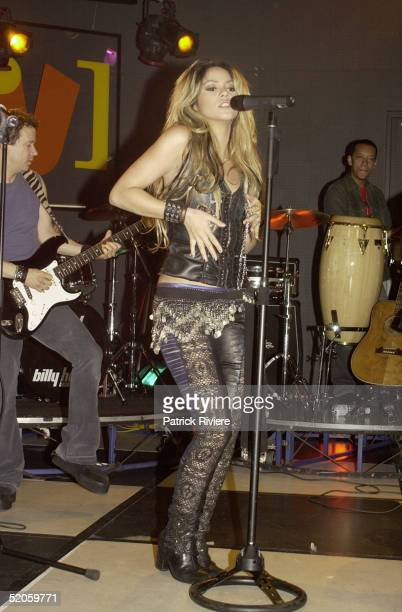 2 May 2002 Colombian singer Shakira performs at Channel V HQ Foxtel Studios Sydney Australia
