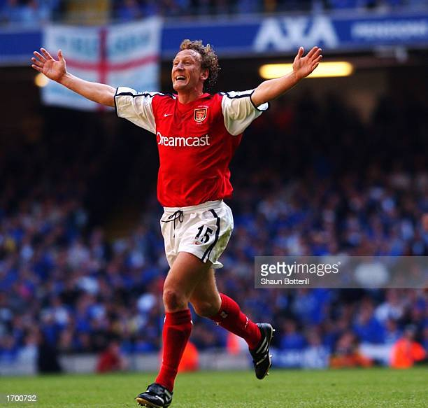 Ray Parlour of Arsenal celebrates opening the scoring with a superb long range effort during the AXA sponsored FA Cup Final between Arsenal and...