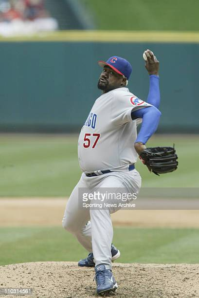 Antonio Alfonseca of the Chicago Cubs during the Cubs 63 loss to the St Louis Cardinals at Busch Stadium in St Louis MO