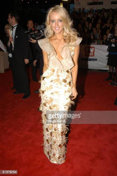 11 May 2003 X102 JACKIE O wearing a dress by Alex Perry arriving on the red carpet for the 45th annual TV Week Logie Awards 2003 held at the Crown...
