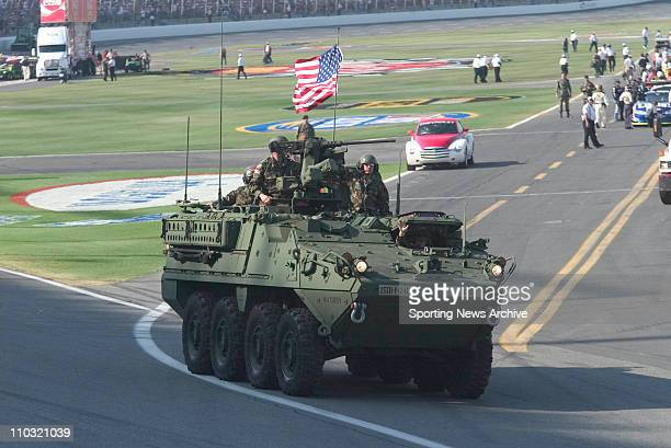 An Army Tank rides around the track prior to the Coca Cola 600 at Lowes Motor Speedway in Concord NC
