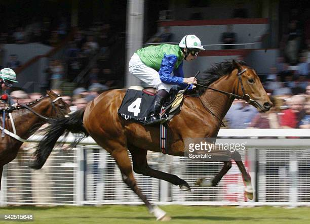 22 May 2004 Russian Blue with Jamie Spencer up on their way to winning the Isabel Morris Memorial Marble Hill Stakes from second place L'Altro Mondo...