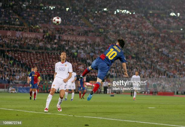 27 May 2009 Rome UEFA Champions League Final FC Barcelona v Manchester United Rio Ferdinand of United can only watch as Lionel Messi of Barcelona...