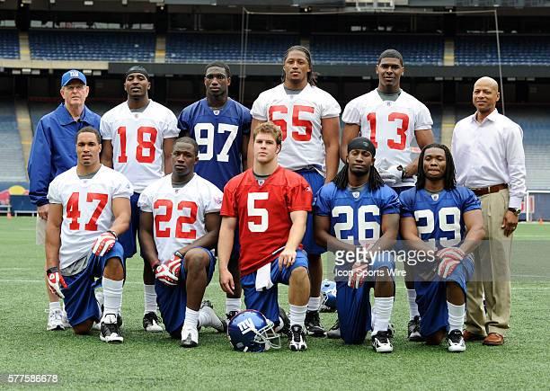 The 2009 draft class back row head coach Tom Coughlin wide receiver Hakeem Nicks linebacker Clint Sintim tackle William Beatty wide receiver Ramses...