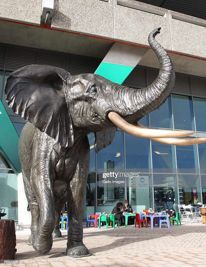 A big statue of an elephant is unveiled at the Cape Town International Airport in Cape Town, South Africa on 6 May 2010. It is all part of the preparations South Africa is doing to host the Fifa Soccer World Cup in June 2010. The statue was designed by Jean Doyle and Donald Greig and the statue has a slot which will service as a piggybank to collect money for the Out of Africa children's fund.