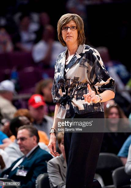 New York Liberty's head coach Anne Donovan reacts to a call during WNBA action between the New York Liberty and the Chicago Sky at Madison Square...