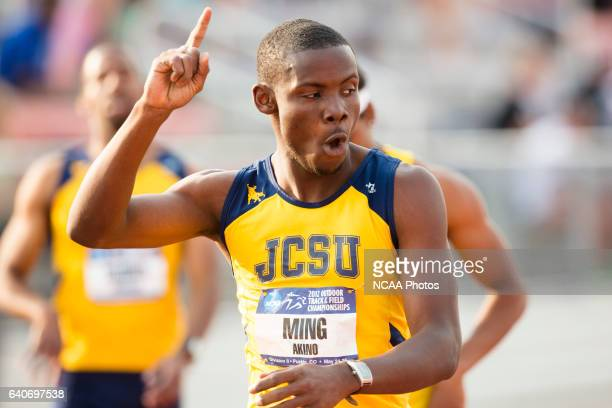 Akino Ming of Johnson C Smith University celebrates as he crosses the finish line in the 400 Meter Dash during the NCAA Division II Outdoor Track and...